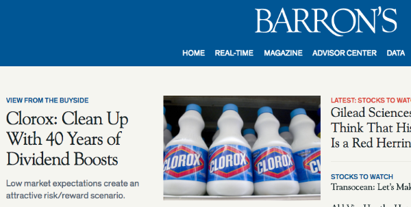 """""""Clean Up With 40 Years of Dividend Boosts"""" – Barron's"""